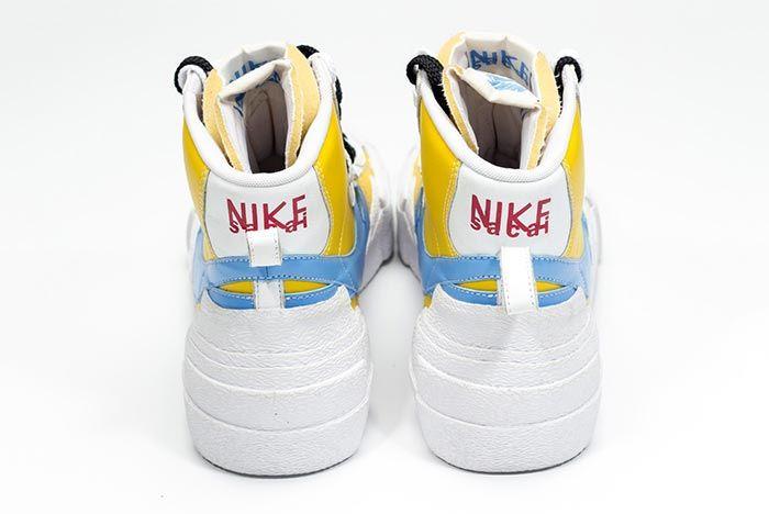 Sacai Nike Blazer Whitebaby Blueyellow Heel Shot 1