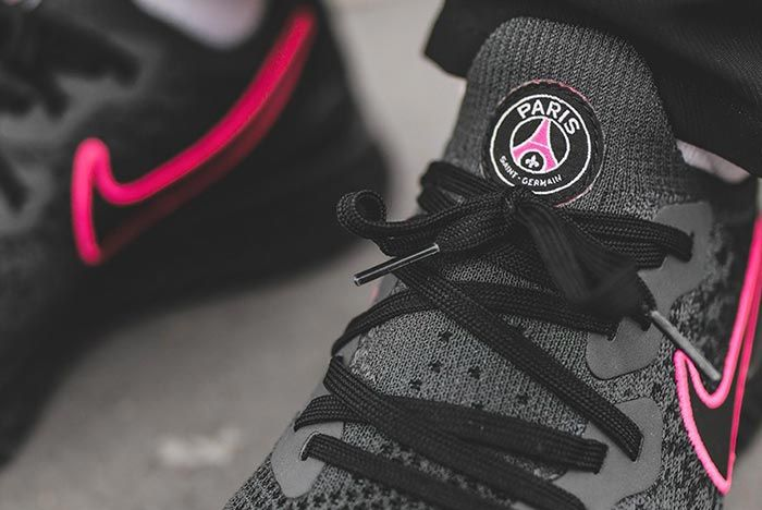 Paris Saint Germain Nike Epic React Flyknit 2 Black Tongue Shot