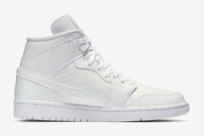 Air Jordan 1 Mid White Patent Bq6472 111 Release Date 2 Medial Shot