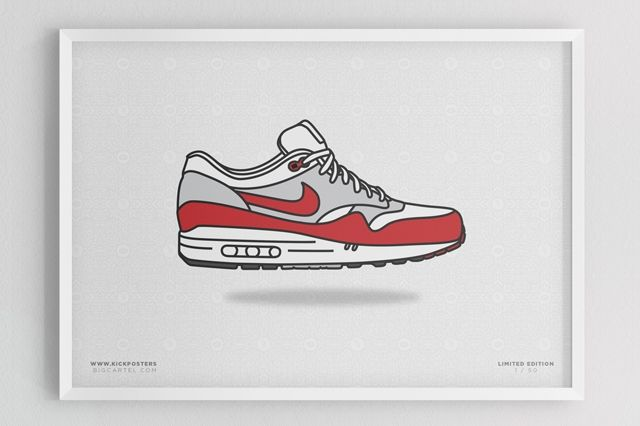Sneaker Prints Air Max 1 Red White