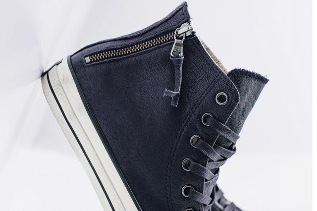 John Varvatos X Converse Leather Double Zip High Navy2