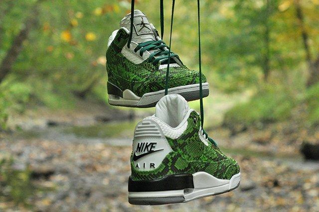 Jbf Customs Jordan 3 Green Python 2