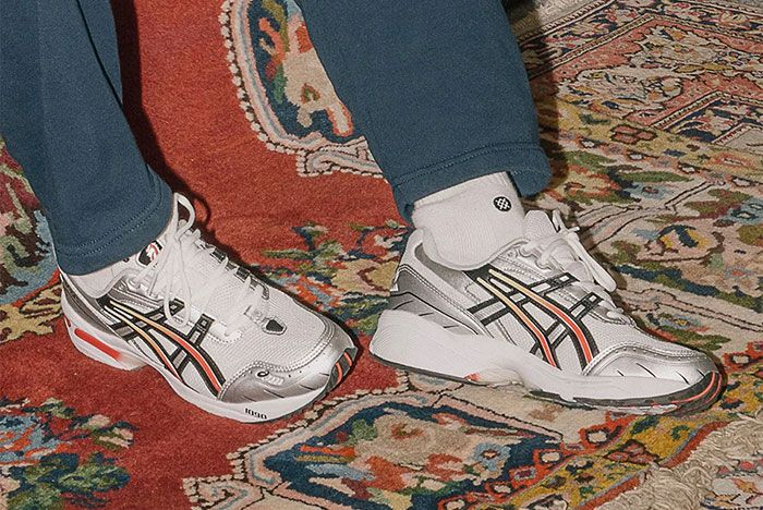 Asics Gel 1090 Silver Steel Grey On Foot Out