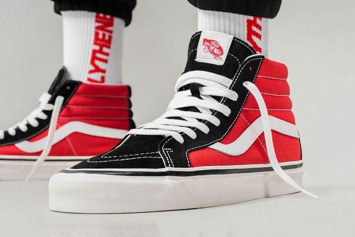 Vans Sk8 Hi Og Black Red Release Date On Foot Side