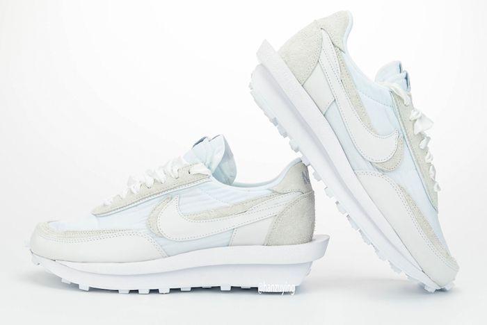 Sacai X Nike Ldwaffle White Lateral Side Angle