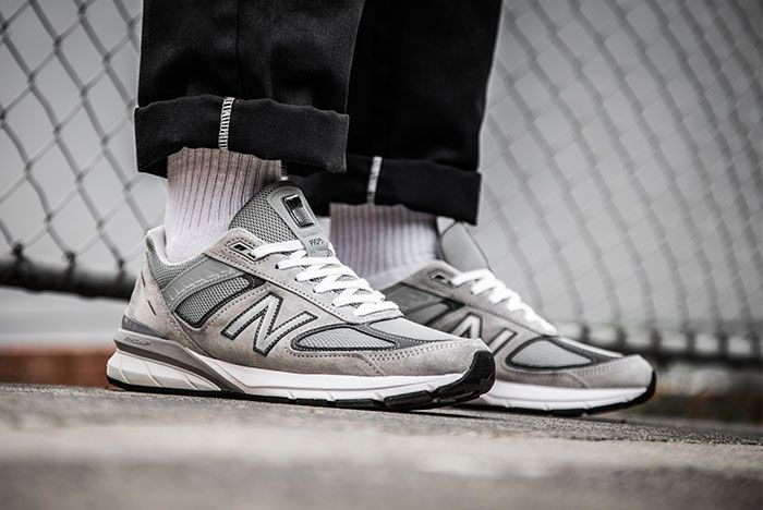 New Balance 990V5 Grey On Foot