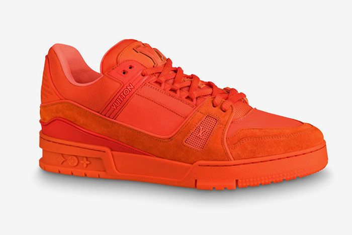 Virgil Abloh Orange Louis Vuitton Sneakers Lateral Side Shot