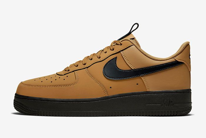 Nike Air Force 1 Low Wheat Black Bq4326 700 Lateral