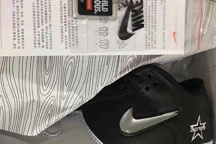 Supreme Nike Air Force 1 Metallic Silver Black Left Side
