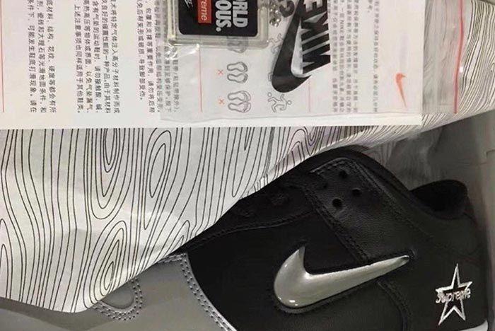 Supreme Nike Air Force 1 Metallic Silver Black Left Side
