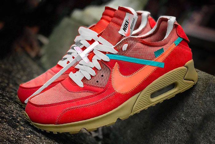 Nike Off White Air Max 90 University Red Left