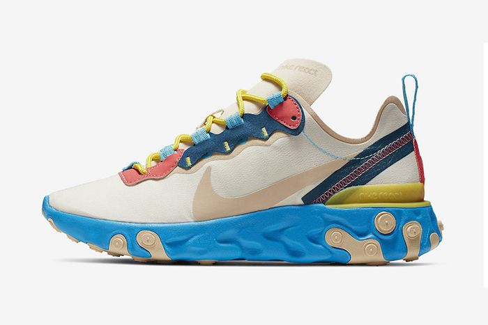 Nike React Element 55 Blue Yellow Peach Release Date Lateral