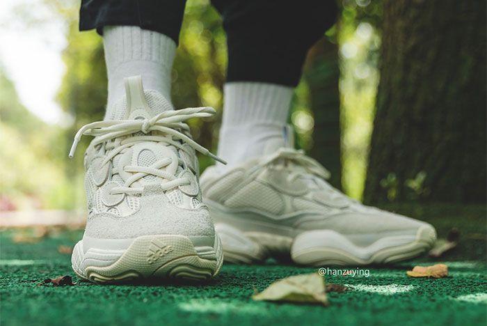 Adidas Yeezy Boost 500 Bone White On Foot Toe 2