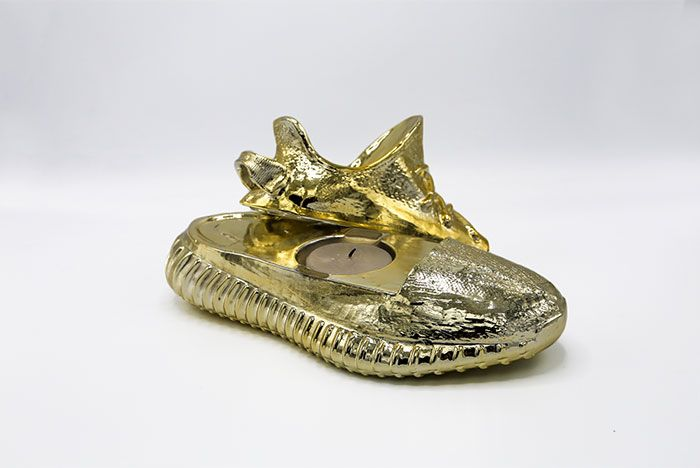 Yeezy Boost 350 Gold Candle Sculpture Side Shot 5
