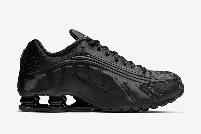 Nike Shox R4 Black Orange Medial