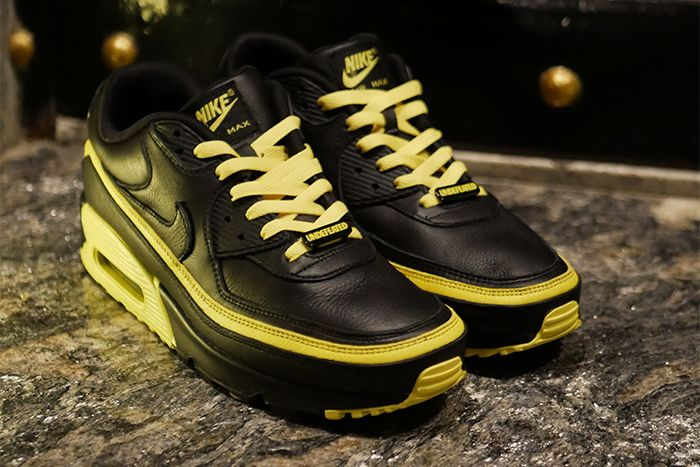Undefeated Nike Air Max 90 Black Optic Yellow Leak Cj7197 001 Release Date Pair