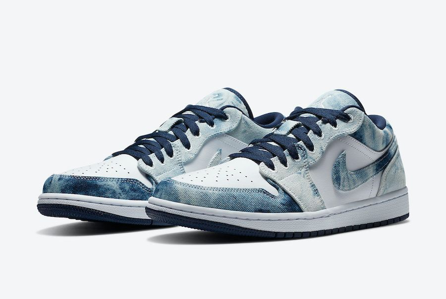Air Jordan 1 Low Washed Denim Angled