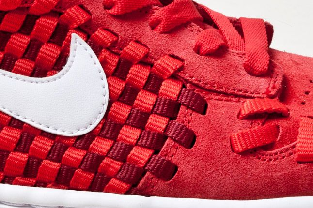 Nike Dunk Woven Checkerboard Red Detail 1
