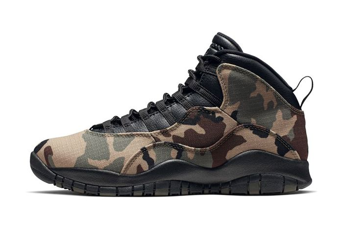 Air Jordan 10 Woodland Camo 310805 201 Release Date Lateral