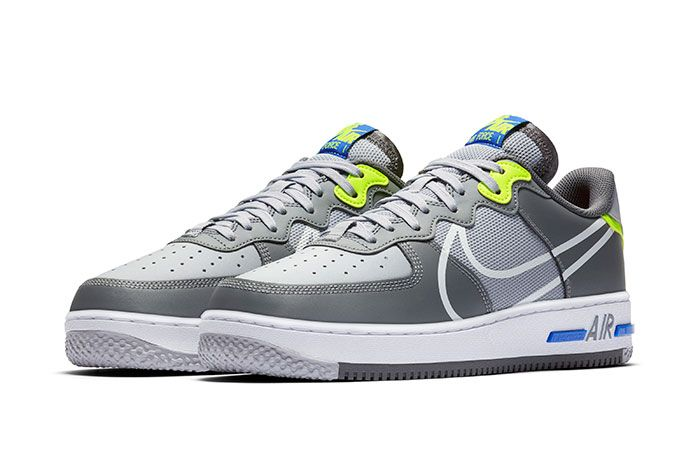 Nike Air Force 1 React Grey Heel Front Angle
