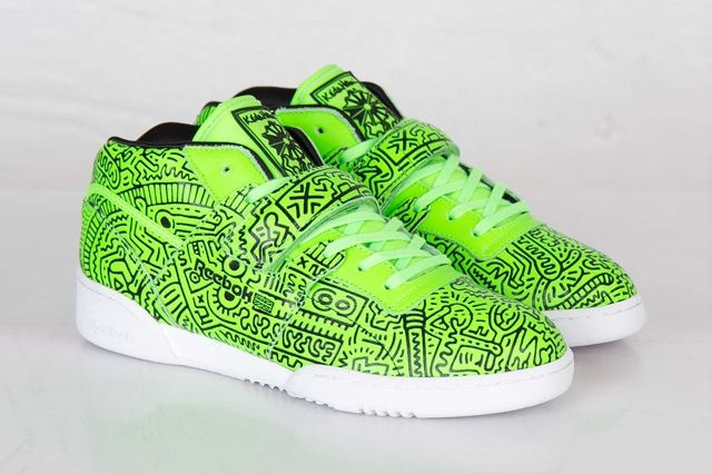 Keith Haring Reebok Classic Workout Mid Strap Neon Green 8