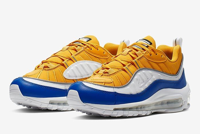 Nike Air Max 98 Yellow White Blue At6640 700 Front Angle