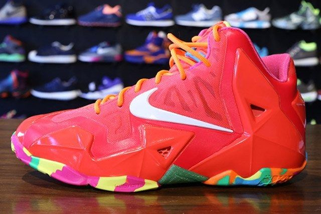Nike Lebron 11 Gs Laser Crimson Side View