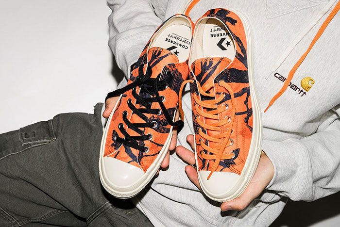 Carhartt Wip Converse Chuck 70 Orange Tree Camo Top Side Shot