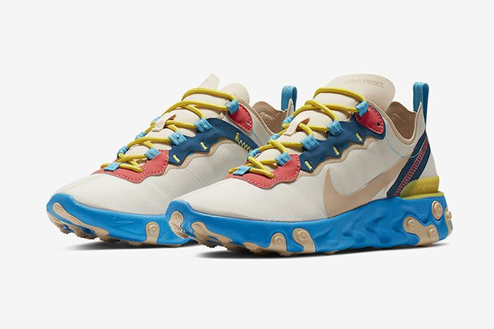 Nike React Element 55 Blue Yellow Peach Release Date Pair