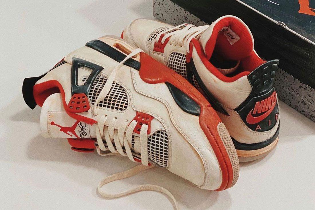 Air Jordan 4 Fire Red Distressed