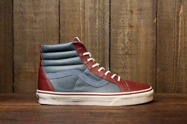 Vans Leather Sk8 Hi Blue Red Profile 1