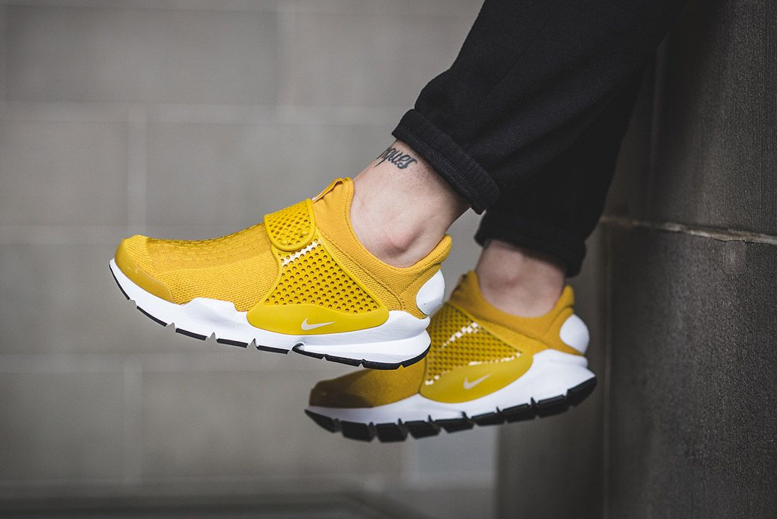Nike Sock Dart Gold On Foot 1