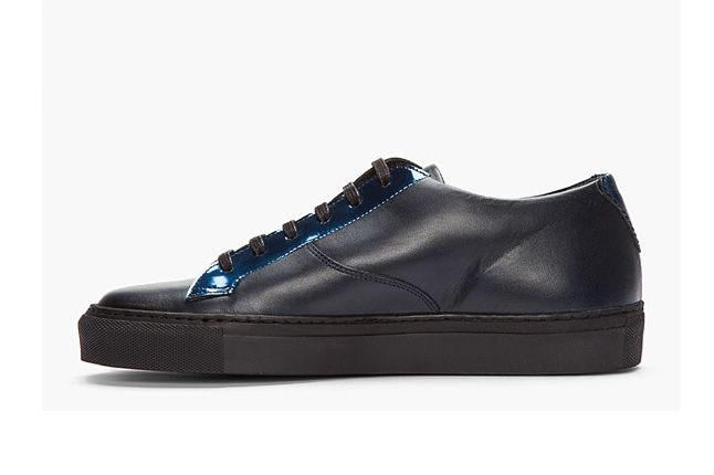 Raf Simons Blk Lthr Rflctive Silver Low Tops Inner Profile 1