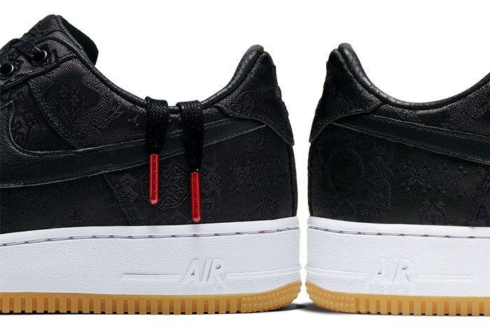 Nike Air Force 1 Clot Black Silk Right Heels
