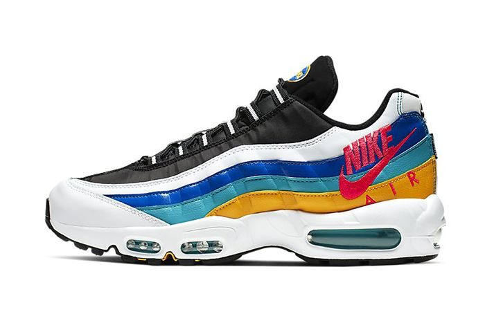 Nike Air Max 95 Windbreaker White University Gold Teal Nebula Red Orbit Aj2018 123 Release Date Lateral