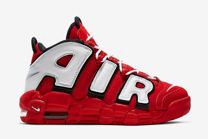 Nike More Uptempo Red White Black Chicago Bulls Cd9402 600 Side Shot 4