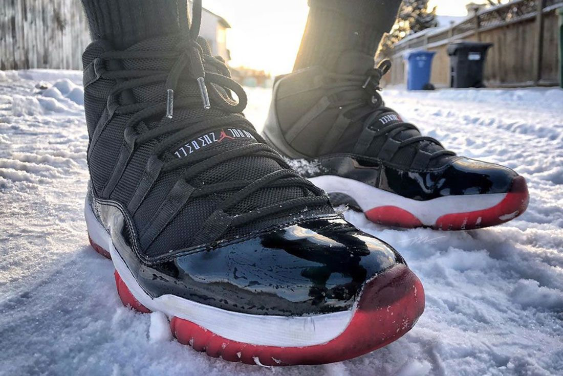 Air Jordan 11 Bred Lateral Three Quarter Side Shot