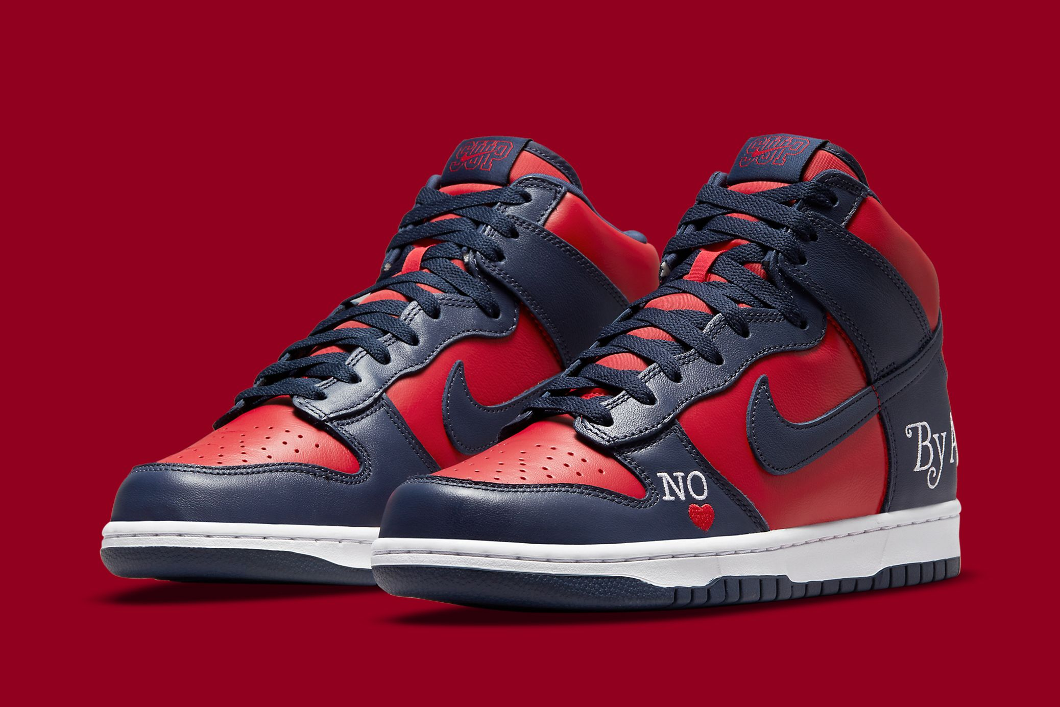 Supreme x Nike SB Dunk High 'By Any Means' in Navy/Red