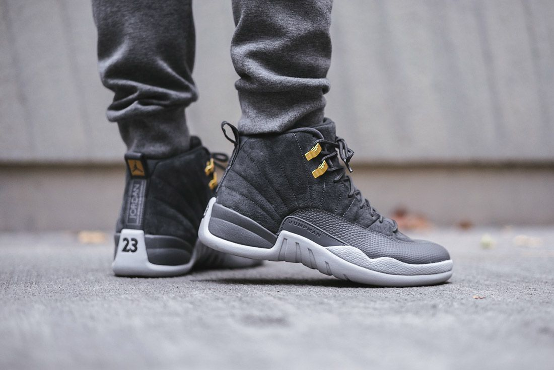 On Foot Air Jordan 12 Dark Grey5