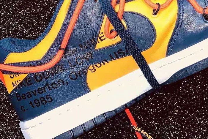 Off White Nike Dunk Low University Gold Midnight Navy Ct0856 700     Release Date 4 Up Close