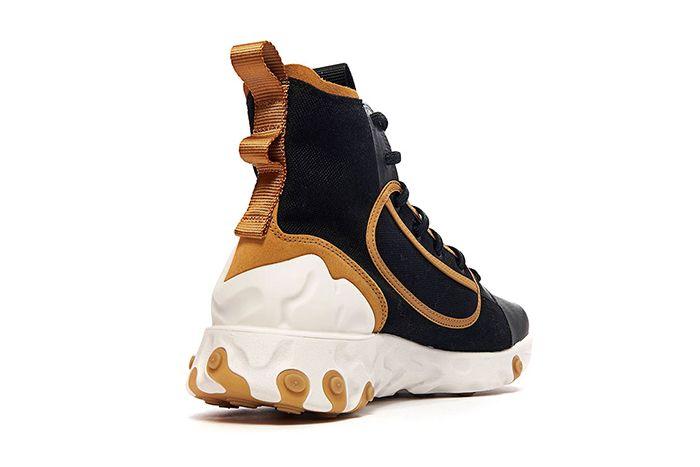 Nike React Ianga The10Th Black White Wheat Phantom Av5555 001 Release Date Heel