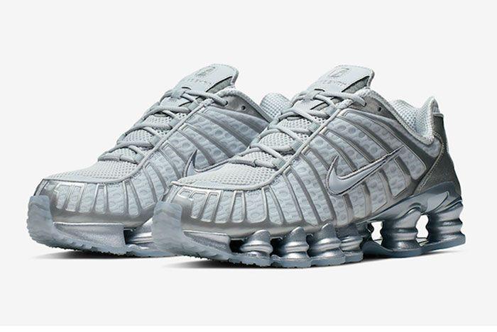 Nike Shox Tl Pure Platinum Chrome Av3595 003 Front Angle