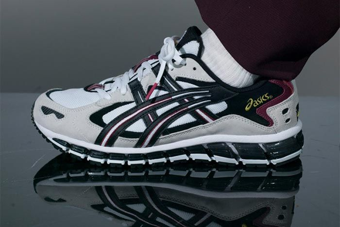Asics Gel Kayano 360 5 Cherry White On Foot Lateral Side Shot