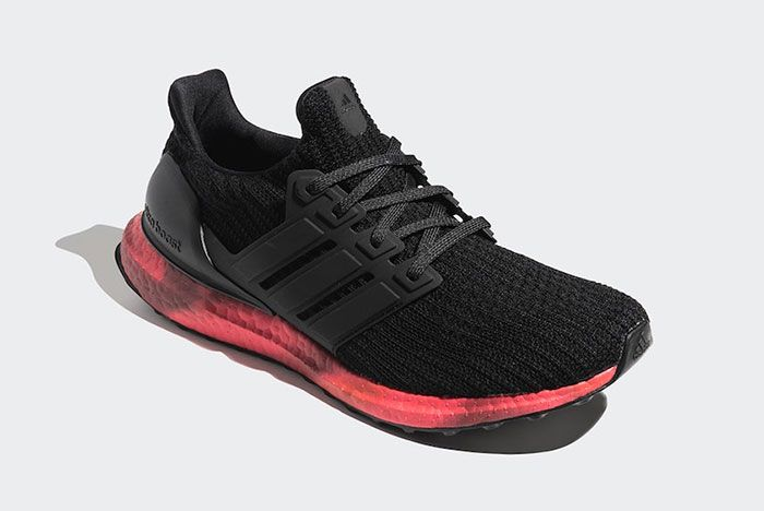 Adidas Ultra Boost Black Red Fv7282 Front Angle