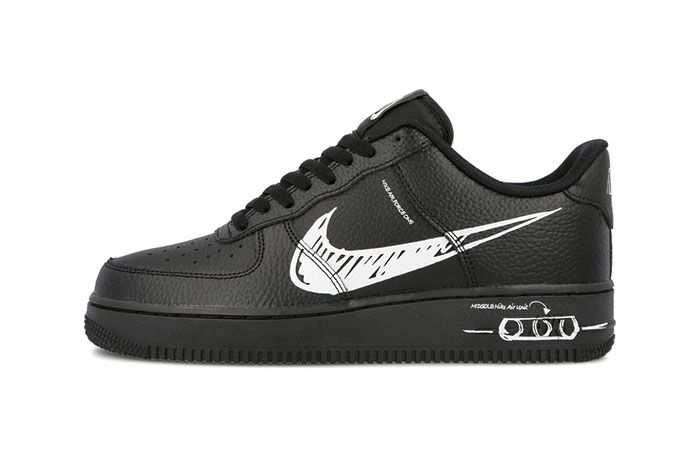 Nike Air Force 1 Sketch Black Left