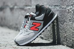 New Balance 574 Sweatshirt Grey Orange Thumb