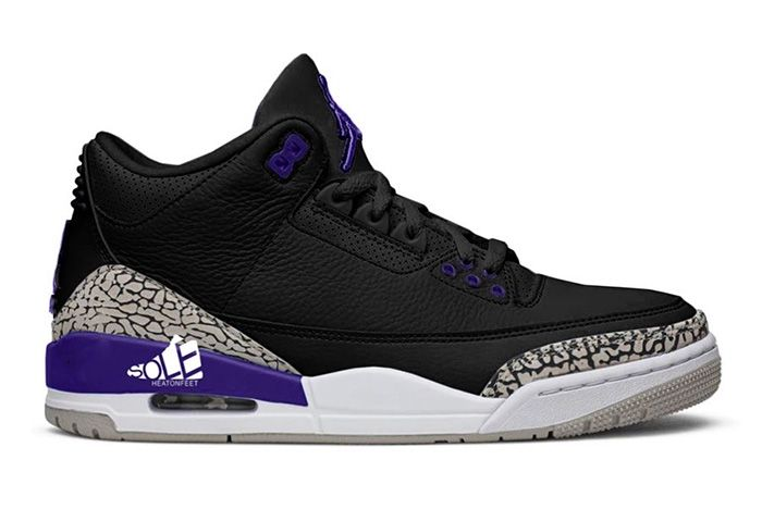 Air Jordan 3 Black Cement Grey White Court Purple Ct8532 050 Release Date Leak