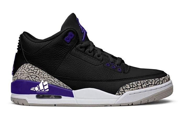Air Jordan 3 Black Cement Grey White Court Purple Ct8532 050 Release Date Leak
