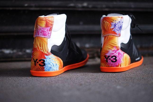 Y3 Yohji Yamamoto Honja Hi Black Floral Heel Detail 1