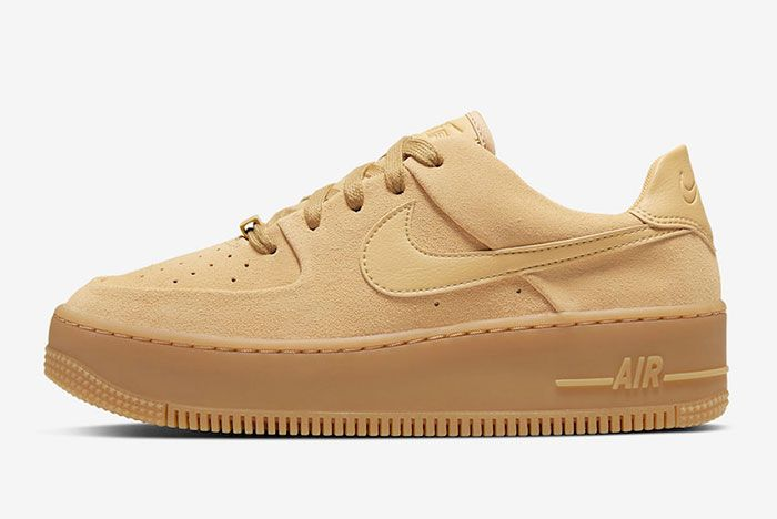 Nike Air Force 1 Sage Club Gold Suede Ct3432 700 Lateral